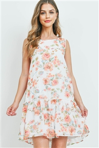 S9-2-2-PPD1078-OFWPCH - FLORAL PRINT SLEEVELESS RUFFLE HEM DRESS WITH INSIDE LINING- OFF-WHITE/PEACH 1-2-2-2