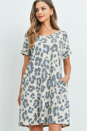 S4-10-1-PPD1083-TPBL - TRI JERSEY V-NECK LEOPARD PRINT DRESS- TAUPE BLUE 1-2-2-2