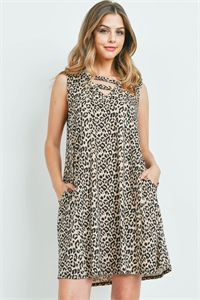 S15-12-2-PPD1085-BWN-1 - DOUBLE STRAP NECK LEOPARD PRINT DRESS WITH SIDE POCKET- BROWN 0-2-1-2
