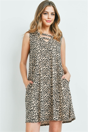 S10-5-2-PPD1085-BWN - DOUBLE STRAP NECK LEOPARD PRINT DRESS WITH SIDE POCKET- BROWN 1-2-2-2
