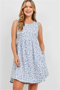 S14-8-4-PPD1094-BLCB-1 - EMPIRE WAIST LEOPARD SIDE POCKET TANK DRESS- BLUE COMBO 0-2-2-2