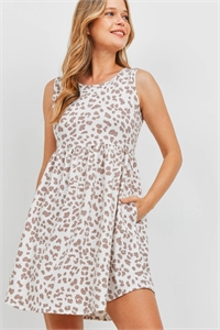 S14-8-4-PPD1094-LTTPCB-1 - EMPIRE WAIST LEOPARD SIDE POCKET TANK DRESS- LIGHT TAUPE COMBO 0-2-2-2