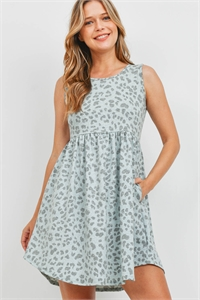 S14-8-4-PPD1094-MNTCB-1 - EMPIRE WAIST LEOPARD SIDE POCKET TANK DRESS- MINT COMBO 0-2-2-2