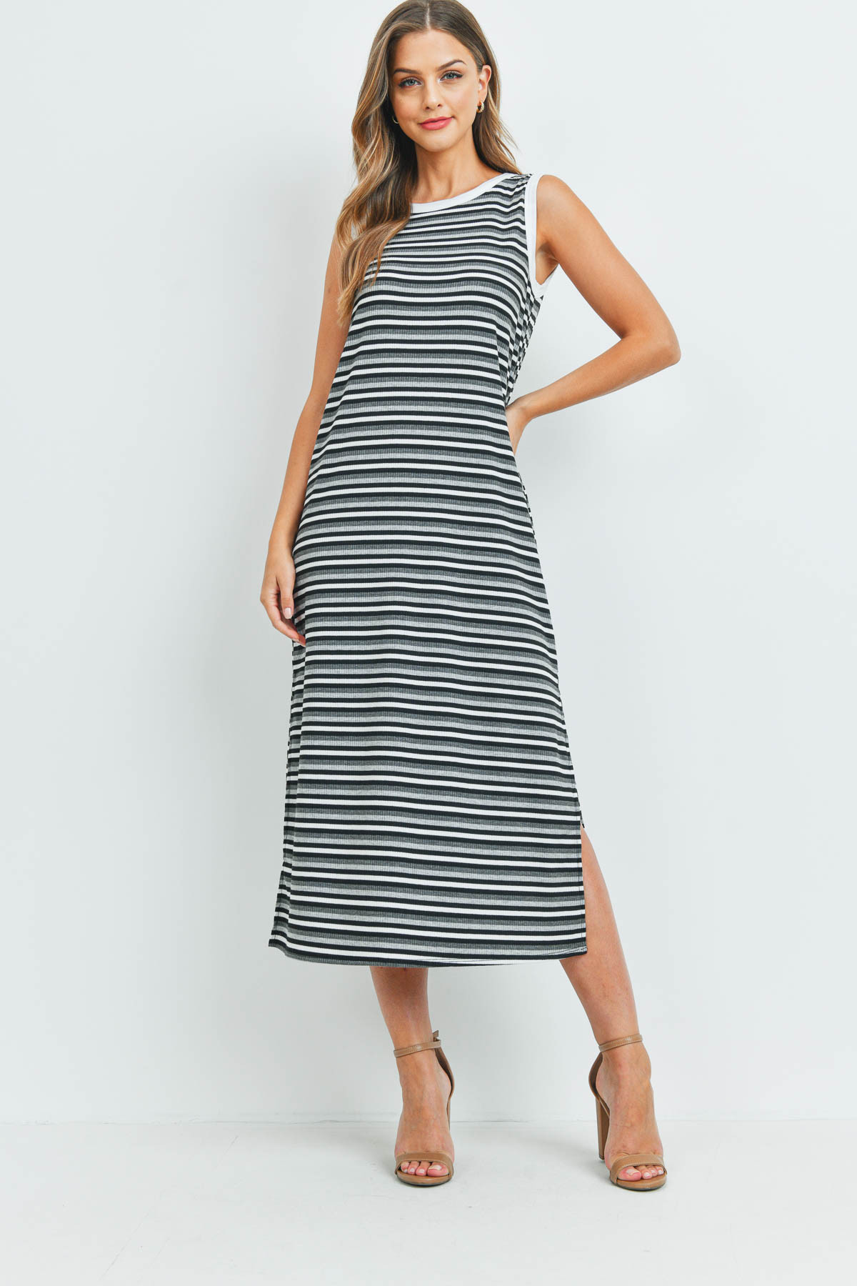 S11-19-2-PPD1106-BKCHLHG - RIB MULTI-COLOR STRIPES MAXI DRESS WITH SIDE SLIT- BLACK/CHARCOAL/HEATHER GREY-IVORY 1-2-2-2