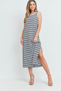 S9-20-2-PPD1106-BLPKBK-1 - RIB MULTI-COLOR STRIPES MAXI DRESS WITH SIDE SLIT- BLUE/PINK/BLACK-IVORY 0-2-2-2