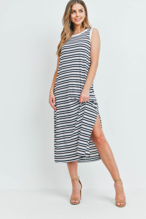 S11-20-1-PPD1106-BLPKBK - RIB MULTI-COLOR STRIPES MAXI DRESS WITH SIDE SLIT- BLUE/PINK/BLACK-IVORY 1-2-2-2