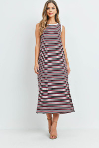 S9-20-2-PPD1106-BLSBUBKIV-1 - RIB MULTI-COLOR STRIPES MAXI DRESS WITH SIDE SLIT- BLUSH/BURGUNDY/BLACK/IVORY-IVORY 0-1-2-2