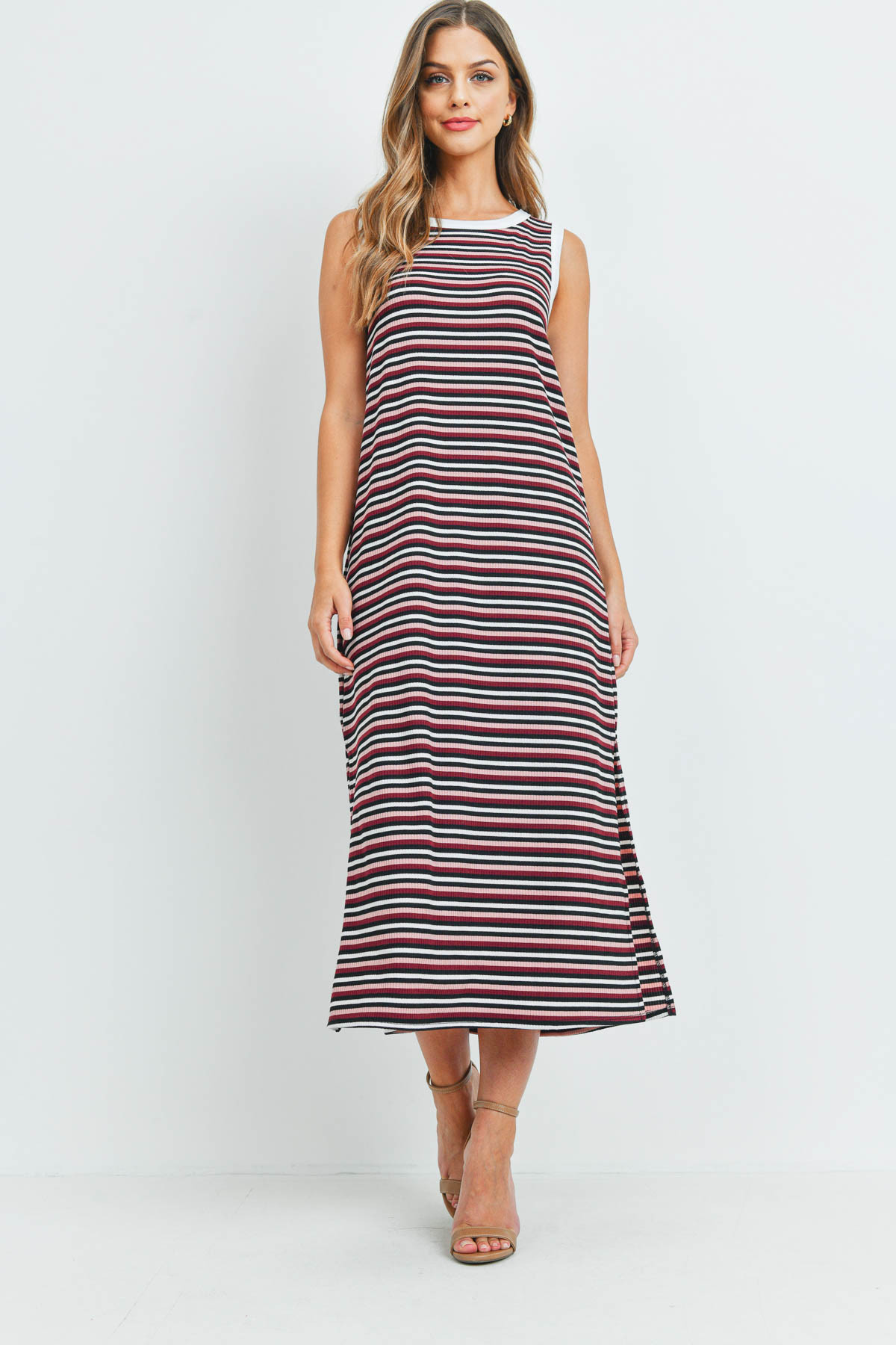 S12-12-1-PPD1106-BLSBUBKIV - RIB MULTI-COLOR STRIPES MAXI DRESS WITH SIDE SLIT- BLUSH/BURGUNDY/BLACK/IVORY-IVORY 1-2-2-2