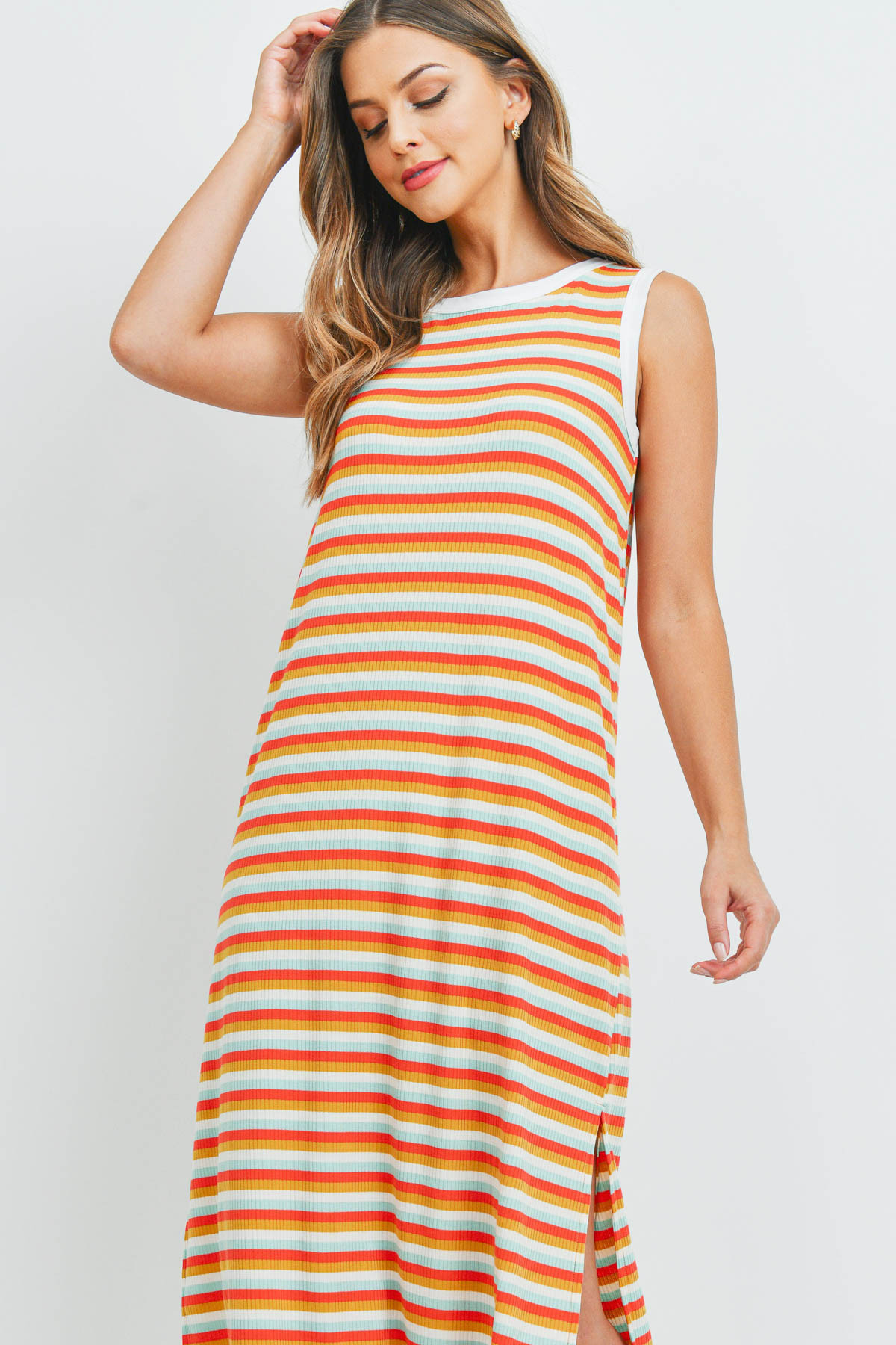 S14-6-2-PPD1106-DKCRLMUMNT - RIB MULTI-COLOR STRIPES MAXI DRESS WITH SIDE SLIT- DARK CORAL/MUSTARD/MINT-IVORY 1-2-2-2