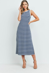 S9-20-2-PPD1106-DNM-1 - RIB MULTI-COLOR STRIPES MAXI DRESS WITH SIDE SLIT- DENIM-IVORY 0-1-2-2