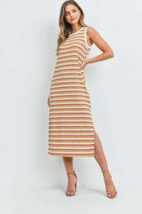 S9-20-5-PPD1106-HGDCRMTMU-1 - RIB MULTI-COLOR STRIPES MAXI DRESS WITH SIDE SLIT- HEATHER GREY/DARK CORAL/MINT/WHITE/MUSTARD-IVORY 0-2-2-2