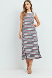 S9-20-2-PPD1106-HGMVCHLIV-1 - RIB MULTI-COLOR STRIPES MAXI DRESS WITH SIDE SLIT- HEATHER GREY/MAUVE/CHARCOAL/IVORY-IVORY 0-2-2-2