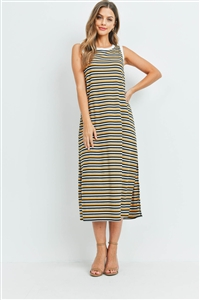 S9-20-2-PPD1106-MUHGBKIVBK-1 - RIB MULTI-COLOR STRIPES MAXI DRESS WITH SIDE SLIT- MUSTARD/HEATHER GREY/BLACK/IVORY/BLACK-IVORY 0-2-2-2