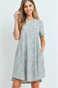 S9-18-3-PPD1108-MNTCRM-1 - SHORT SLEEVES PRINTED ROUND HEM POCKET DRESS- MINT/CREAM 1-1-0-0