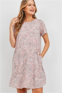 S16-6-3-PPD1108-PCHOFWT - SHORT SLEEVES PRINTED ROUND HEM POCKET DRESS- PEACH/OFF-WHITE 1-2-2-2