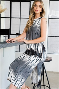 S8-1-3-PPD1111-BKCB - TIE DYE TANK DRESS WITH SIDE SLIT- BLACK COMBO 1-2-2-2