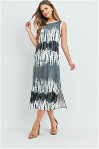 S16-12-4-PPD1111-BKCB-1 - TIE DYE TANK DRESS WITH SIDE SLIT- BLACK COMBO 1-2-2-1