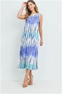 S16-12-4-PPD1111-NVCB-1 - TIE DYE TANK DRESS WITH SIDE SLIT- NAVY COMBO 0-0-2-2