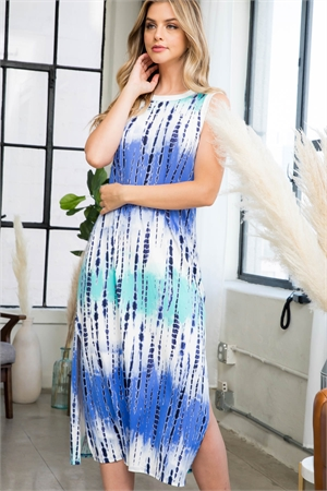 S8-1-4-PPD1111-NVCB - TIE DYE TANK DRESS WITH SIDE SLIT- NAVY COMBO 1-2-2-2