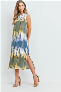 S16-12-4-PPD1111-NVMU-1 - TIE DYE TANK DRESS WITH SIDE SLIT- NAVY/MUSTARD 0-2-2-1