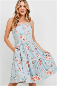 SA4-6-3-PPD1122-MNT-1 - FLORAL PRINT CAMI STRAP TIERED RUFFLE DRESS- MINT 0-1-2-2