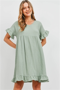 SA4-6-3-PPD1125-SG-1 - RUFFLE BELL SLEEVE V-NECK WOVEN EMPIRE WAIST DRESS- SAGE 0-2-1-2