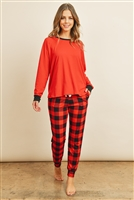 S8-1-4-PPP4001-RLRDBK - SOLID TOP AND PLAID JOGGERS SET WITH SELF TIE- REAL RED/BLACK 1-2-2-2