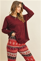 S8-10-3-PPP4003-WNBKRD - TWO TONED TOP AND KNIT DESIGN BOTTOM SET WITH SELF TIE- WINE BLACK RED/BLACK COMBO 1-2-2-2