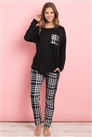 S13-10-3-PPP4004-BKIVNV - SOLID TOP PLAID POCKET AND JOGGERS SET WITH SELF TIE- BLACK/IVORY/NAVY 1-2-2-2