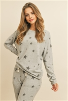S13-11-1-PPP4007-HGBK - STAR PRINT BRUSHED TOP AND JOGGERS SET WITH SELF TIE- HEATHE GREY/BLACK 1-2-2-2