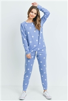 S13-1-1-PPP4008-BLWT - STAR PRINT TOP AND JOGGERS SET WITH SELF TIE- BLUE/WHITE 1-2-2-2