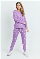 S13-1-1-PPP4008-LVDWT - STAR PRINT TOP AND JOGGERS SET WITH SELF TIE- LAVENDER/WHITE 1-2-2-2