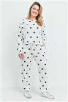 S14-9-1-PPP4008X-IVBK - PLUS SIZE STAR PRINT TOP AND JOGGERS SET WITH SELF TIE- IVORY/BLACK 3-2-1