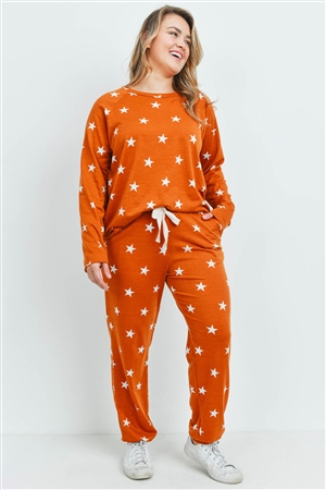 S10-19-3-PPP4008X-TRCT - PLUS SIZE STAR PRINT TOP AND JOGGERS SET WITH SELF TIE- TERRACOTA 3-2-1