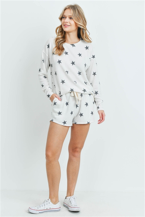 S13-2-4-PPP4013-IVBK - LONG SLEEVES TOP AND SHORT SET STAR PRINT WITH SELF TIE- IVORY/BLACK 1-2-2-2
