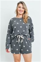 S10-15-4-PPP4013X-BK - LONG SLEEVES TOP AND SHORT PLUS SIZE SET STAR PRINT WITH SELF TIE- BLACK 3-2-1