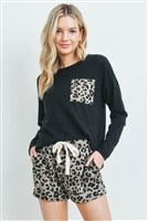 S9-11-2-PPP4014-BKTP - SELF TIE LONG SLEEVES SOLID TOP LEOPARD POCKET AND SHORT SET- BLACK/TAUPE 1-2-2-2
