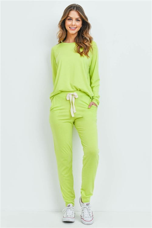 S6-2-4-PPP4015-VLM - SOLID TOP AND PANTS SET WITH SELF TIE- VINTAGE LIME 1-2-2-2