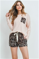 S15-4-1-PPP4016-NDBWN - ANIMAL TOP AND SHORTS SET WITH SELF TIE- NUDE/BROWN 1-2-2-2