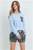 S15-2-1-PPP4016-SBLGY - ANIMAL TOP AND SHORTS SET WITH SELF TIE- SKYBLUE/GREY 1-2-2-2