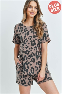 S8-14-4-PPP4017X-CMLII-1 - PLUS SIZE LEOPARD TOP AND SHORTS SET WITH SELF TIE- CAMEL II 1-2-1