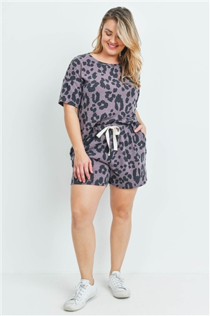 S6-3-4-PPP4017X-DKLVD - PLUS SIZE LEOPARD TOP AND SHORTS SET WITH SELF TIE- DARK LAVENDER 3-2-1