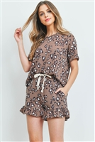 S14-7-2-PPP4019-BWNCMB-1 - LOW GAUGE LEOPARD TOP AND SHORTS SET WITH SELF TIE- BROWN COMBO 3-1