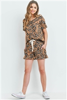S14-7-2-PPP4019-CMLCMB-1 - LOW GAUGE LEOPARD TOP AND SHORTS SET WITH SELF TIE- CAMEL COMBO 1-2-2