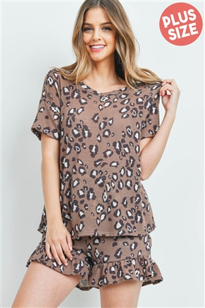 S4-10-4-PPP4019X-BWNCMB - PLUS SIZE LOW GAUGE LEOPARD TOP AND SHORTS SET WITH SELF TIE- BROWN COMBO 3-2-1