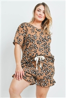 SA4-5-2-PPP4019X-CMLCMB - PLUS SIZE LOW GAUGE LEOPARD TOP AND SHORTS SET WITH SELF TIE- CAMEL COMBO 3-2-1