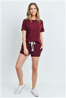S15-10-2-PPP4021-BU-1 - SOLID MIRR TOP AND SHORTS SET WITH SELF TIE- BURGUNDY 1-2-2