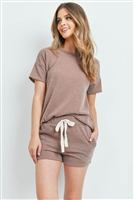 S14-2-4-PPP4021-CMLII - SOLID MIRR TOP AND SHORTS SET WITH SELF TIE- CAMEL II 1-2-2-2