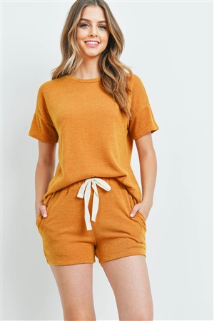 S15-10-2-PPP4021-MU-1 - SOLID MIRR TOP AND SHORTS SET WITH SELF TIE- MUSTARD 2-1-2