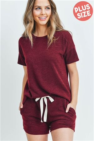 S13-3-4-PPP4021X-BU - PLUS SIZE SOLID MIRR TOP AND SHORTS SET WITH SELF TIE- BURGUNDY 3-2-1